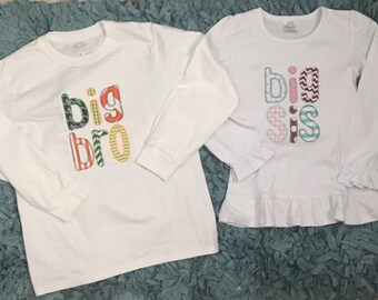 Big Brother Little Sister Shirt Set Sibling Shirt Set by Harleigh Grace Boutique
