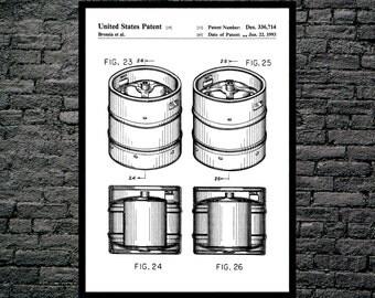 Beer Keg Poster, Brewing Beer Patent, Brewing Beer Poster, Brewing Beer Print, Brewing Beer Ale Decor, Beer Poster, Beer and Ale Decor