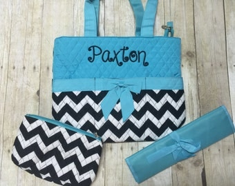 Personalized Blue Black Monogrammed Diaper Bag