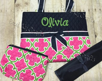monogrammed diaper bag 3 piece set personalized (pink, navy,lime green)