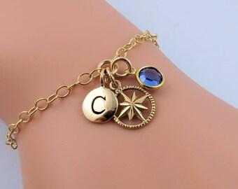 Personalized Compass Bracelet, Gold Compass Bracelet, Gold Bracelet Personalized, Birthstone Bracelet, Gold Initial Bracelet