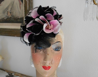 Awesome 1940's Black/Pink Fascinator Tilt Hat with Magnolias