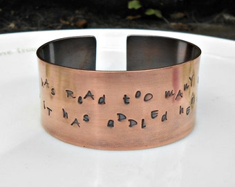Louisa May Alcott Bracelet, Literary Quote Cuff, She Has Read Too Many Books, Book Quote, Literary Gift, Gift for Book Lover, Gift for Her.