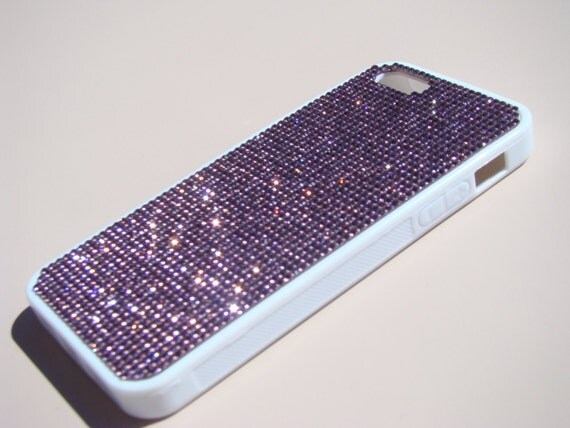 iPhone SE 5/5s Purple Amethyst Crystals on White Rubber Case. Velvet/Silk Pouch Bag Included, Genuine Rangsee Crystal Cases.
