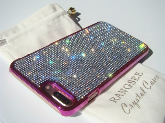 iPhone 8 Plus / iPhone 7 Plus Case Clear Diamond Rhinestone Crystals on Pink Chrome Case. Velvet Pouch Included,