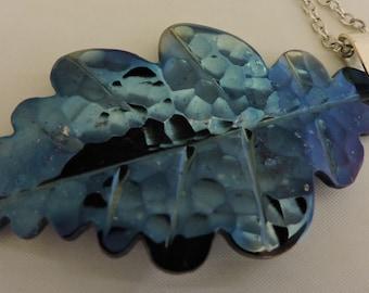 Oak Leaf pendant, , blued steel