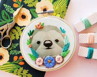 Sloth Hoop Art