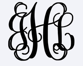 "5"" Interlocking Monogram Vinyl Decal Sticker"