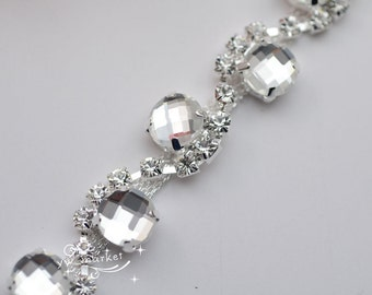one yard costume applique crystal rhinestone trims silver A887