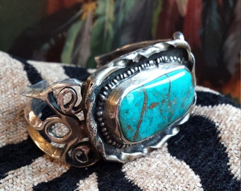 Native American turquoise sterling pawn cuff