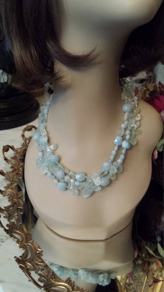 Aquamarine natural stone three strand necklace