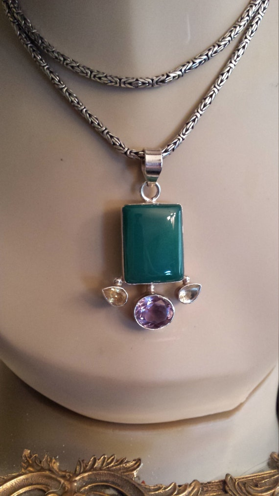 Aventurine sterling silver pendant adorned with amythyst and citrine