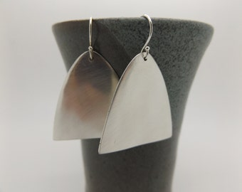 brushed vintage silver spoon scoop tip earrings