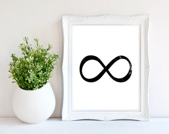 Infinity Wall art/ 8 x 10 Infinity print/ Black infinity / Infinity symbol / Instant download / Printable wall art / digital infinity sign