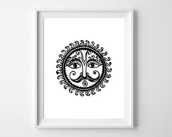 Sun Wall art / 8 x 10 wall art / ethnic sun art / instant download / Art for home décor / black on white printable art / Sun wall print