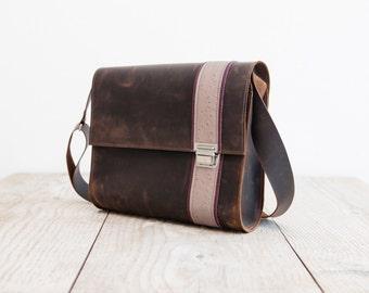 Postman bag L from Haeute, high quality leather bag, dark brown cowhide, handmade in Germany