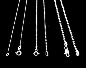 925 Sterling Silver Bead Ball Dog Tag Chain Necklace 1-3 MM Solid Bead Chain. Italy Made.