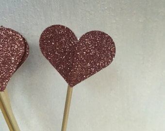 Large glitter Heart Cake Toppers - Cake Pokes - Set Of 5 Wedding Engagement Birthday Event Love Hearts