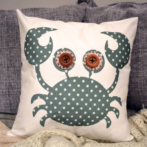 """HALF PRICE! Crab Cushion - Green Polka Dot """"The Happy Crabbies"""" Collection, Floral, Pink, Grey, Fleur de lys, Tamsin Reed Designs"""
