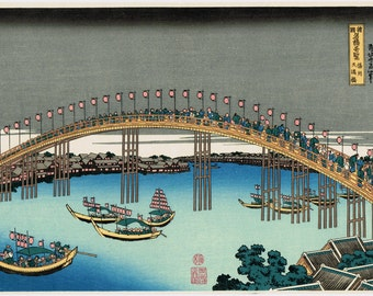 "Japanese Ukiyo-e Woodblock print, Hokusai, ""The Tenman Bridge in Settsu Province"""