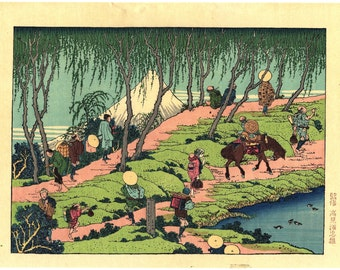 "Japanese Ukiyoe, Woodblock print, Katsushika Hokusai, ""Mt.fuji seen from willows bank"""