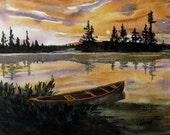 Canoe Painting. Moonlight on lake Watercolor. Scenic lake reflections & canoe, scenic canoe on lake. sunset canoe, OOAK 11x15in Not a print!