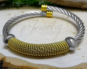 Silver & Gold Twisted Cable Stainless Steel Bangle Bracelet