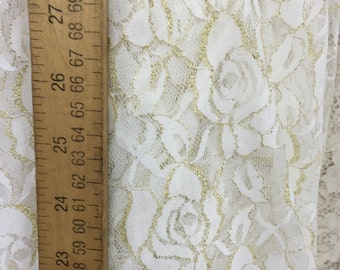 90/10 mylon spandex ivory n gold lace 58-60 in w Fabric by the yard