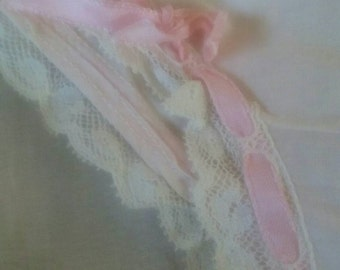 Vintage Little Girls Pink Cotton Panties with Ribbon/Retro 50's Girls Panties/Handmade Vintage Little Girls Undergarments/Girls Underwear