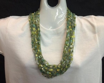 Lime and yellow crocheted ribbon necklace #69