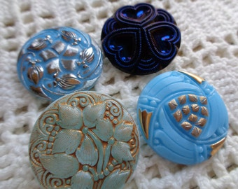 SALE 4 Czech art glass buttons blues with mixed fancy finishes 27mm  FREE SHIPPING