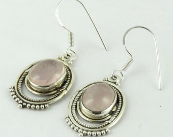 Rose Quartz Earrings - Silver Earrings - Handmade Earrings - Silver Stone Earrings - Bezel Set Earrings - Dangle Earrings - Bridal Earrings