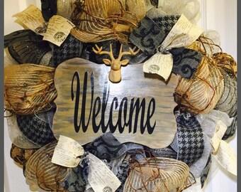 Black and Grey Mounted Deer Head Welcome Deco Mesh Wreath