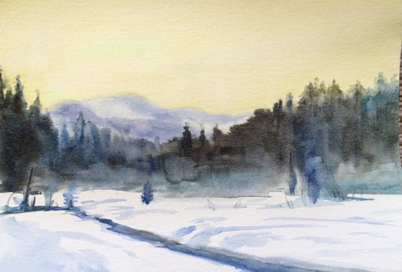 Snoqualmie, Winter landscape, Winter painting, Gold Creek pond, Conifers, pine trees, landscape, Pacific Northwest, Snow painting, forest