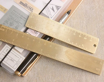 Brass Metal Ruler Bookmark for Travel Journal, Notebook, Diary,  Personal Planner