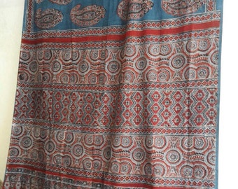 Ajrakh handblock printed mulmul saree