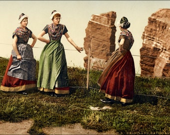 24x36 Poster . Womens Traditional Clothing In Helgoland, Germany Bight 1890