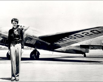 24x36 Poster . Amelia Earhart With Her Lockheed Electra July 1937