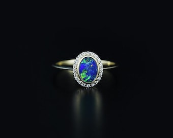 Opal and Diamond Ring in 14k Gold. Simple White Gold/Yellow Gold Ring with Diamond and Australian Opal. Gold Opal Ring. SKU: DR2136