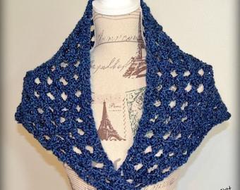 Charity Fundraiser Crochet Dark Blue Triangle Scarf/Wrap/Light Weight Shawl