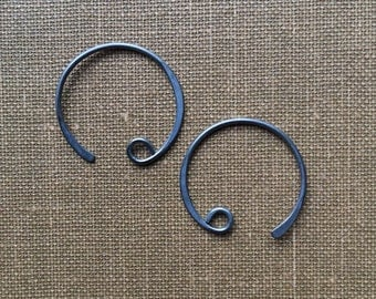 Ear Wire Sterling Silver Oxidized Curved Hoop Loop Earring 16mm x 18mm FB1092