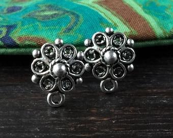 Flower Post Earrings Filigree Post Earrings Oxidized Sterling Silver One Pair