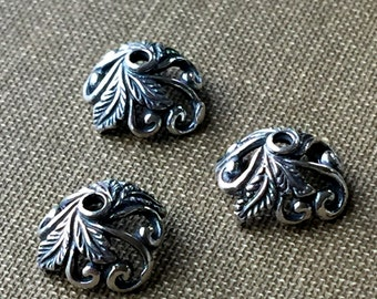 Silver Bead Cap 10mm Sterling Silver Bali Silver Swirling Leaves One Pair ( 2 Pieces) FB1080