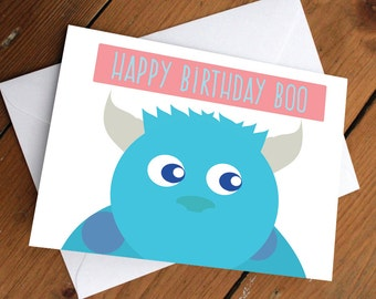 Happy Birthday Boo- Monster Inc Sulley Card // cute, love, anniversary, valentines day, celebration, friends, friendship