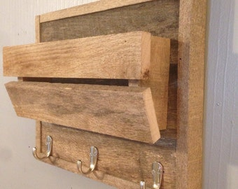 Mail Holder/ Coat Rack Storage/Mail Organizer/Letter Holder/Entry Organizer/wall hanging/pallet/rustic/sunglasses/barnwood
