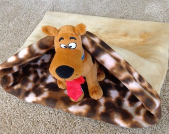 Snuggle Cuddle Sack Dog Tan Animal Print Reversible Pet Sleeping Bag Burrow Bed