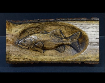 Reclaimed Black Oak Half Log with 3D Trout Carving