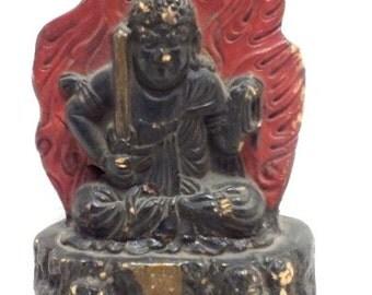 "Polychrome Buddha cut figurine 6 1/2"" tall, 3 1/2"" wide, 2 1/8"" deep, weight 1.4 lb. Chinese inscription."