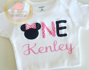 Minnie Mouse birthday onesie - 1st birthday Minnie Mouse onesie - first  birthday onesie - Minnie Mouse 1st birthday party - baby onesie