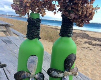 Nautical Green Vase Pair Hand Painted Irish Green Wine Bottle Vases Candlestick Holders Centerpiece Accent with Mussel Shells Marine Rope